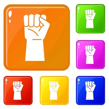 Homme d'affaires poing vers le haut icons set vector couleur