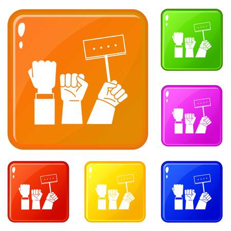Banner hand up icons set collection vector 6 color isolated on white background