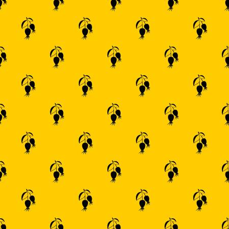 Dogrose berries branch pattern seamless vector repeat geometric yellow for any design