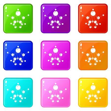 Aspirin icons set 9 color collection Illustration
