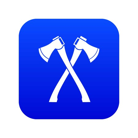 Two crossed axes icon digital blue for any design isolated on white vector illustration