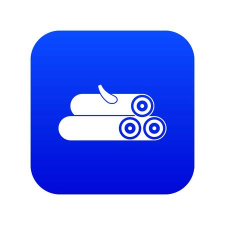 Wooden logs icon digital blue for any design isolated on white vector illustration