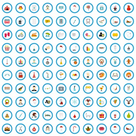 100 miscellaneous icons set, flat style Çizim