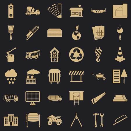 Construction site icons set, simple style Stock Illustratie