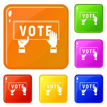 Vote poster icons set collection vector 6 color isolated on white background