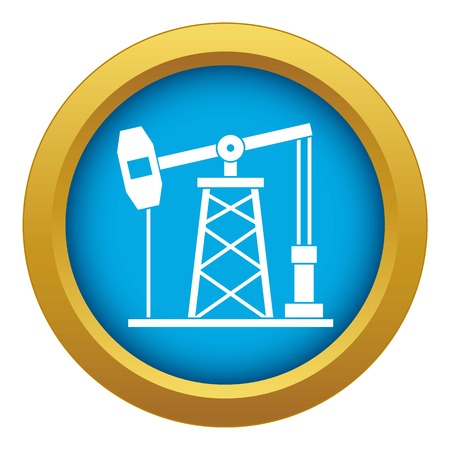 Oil derrick icon blue vector isolated