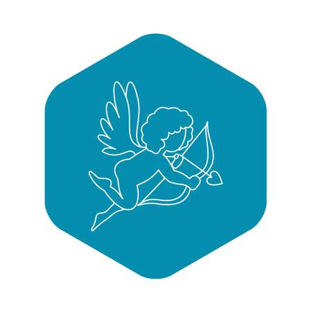 Cupid with bow and arrow icon. Outline illustration of Cupid with bow and arrow vector icon for web