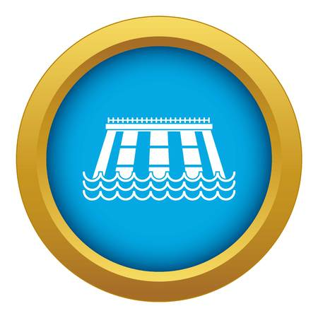 Hydroelectric power station icon blue vector isolated on white background for any design Illustration
