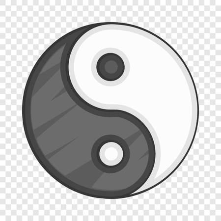 Ying yang icon, cartoon style