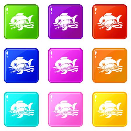 Sea food icons set 9 color collection Illustration
