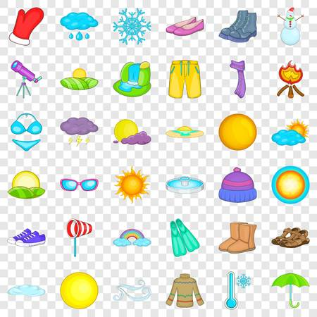 Sunny weather icons set, cartoon style