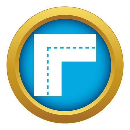 Turning road icon blue vector isolated Ilustración de vector