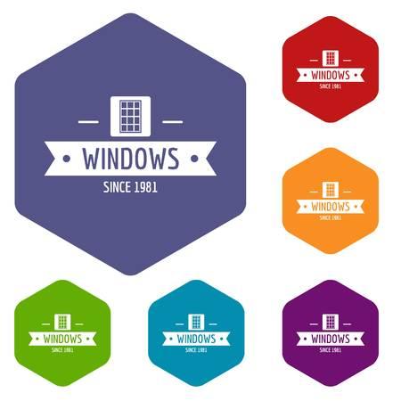 Window company icons vector hexahedron