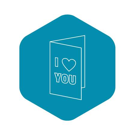 Greeting card on Valentine day. icon. Outline illustration of greeting card on Valentine day vector icon for web