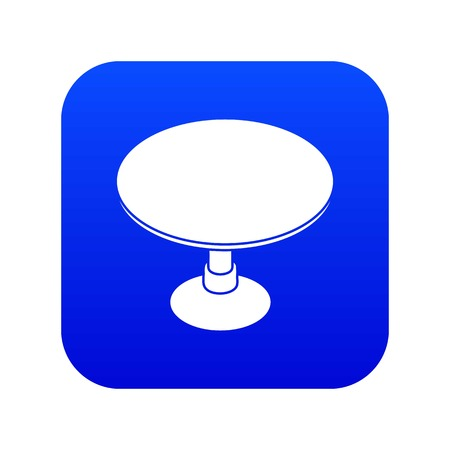 Round table icon blue vector isolated on white background