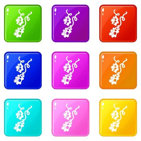 Micro vibrio icons set 9 color collection Ilustração