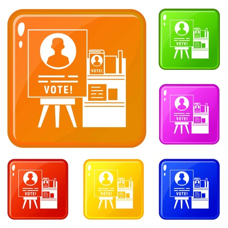Vote wood stand icons set collection vector 6 color isolated on white background