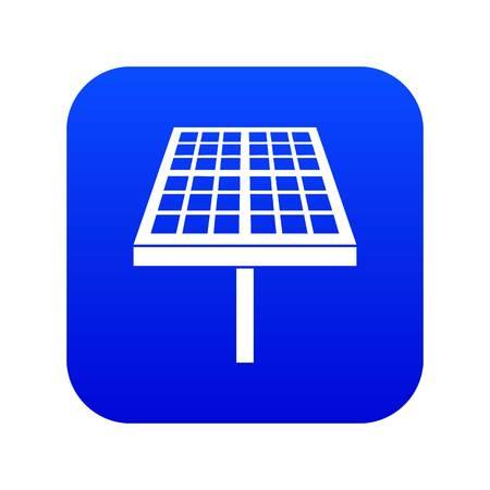 Solar energy panel icon digital blue