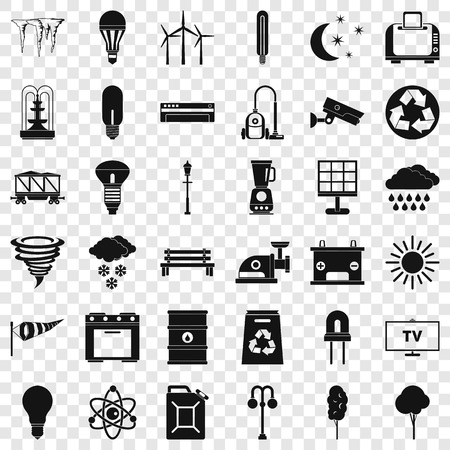 Agriculture windmill icons set, simple style Vecteurs