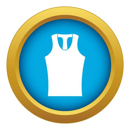 Sleeveless shirt icon blue vector isolated on white background for any design