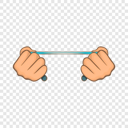 Rope in hands icon, cartoon style