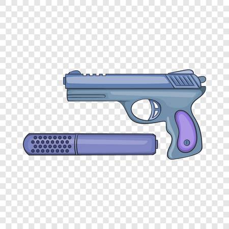 Pistol and silencer icon in cartoon style on a background for any web design Çizim