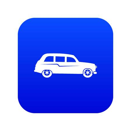 Retro car icon digital blue for any design isolated on white vector illustration