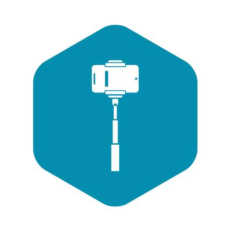 Mobile phone on a selfie stick icon in simple style isolated on white background. Device symbol Illustration