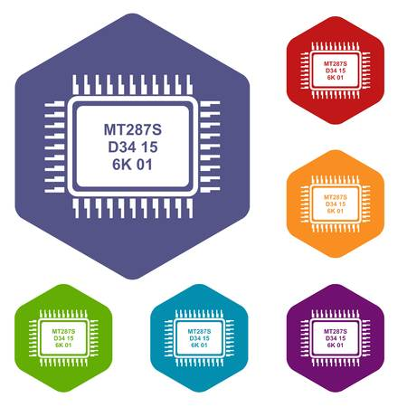 Micro microchip icons vector colorful hexahedron set collection isolated on white