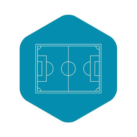 Top view of soccer field icon. Outline illustration of top view of soccer field vector icon for web