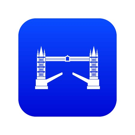 Tower bridge icon digital blue for any design isolated on white vector illustration Illustration