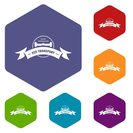 Eco gyro scooter icons vector hexahedron Иллюстрация