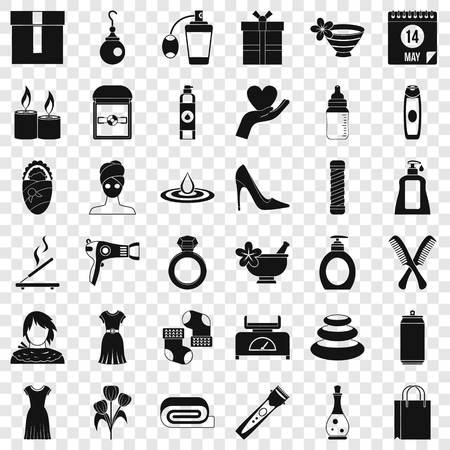 Woman thing icons set, simple style