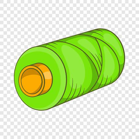Green bobbin of thread icon in cartoon style isolated on background for any web design