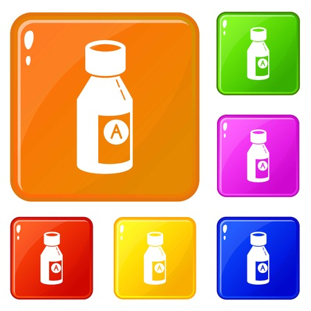 Juice pack icons set collection vector 6 color isolated on white background