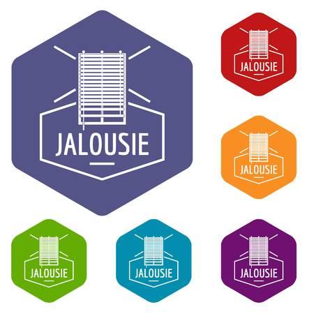 Jalousie icons vector hexahedron Illustration