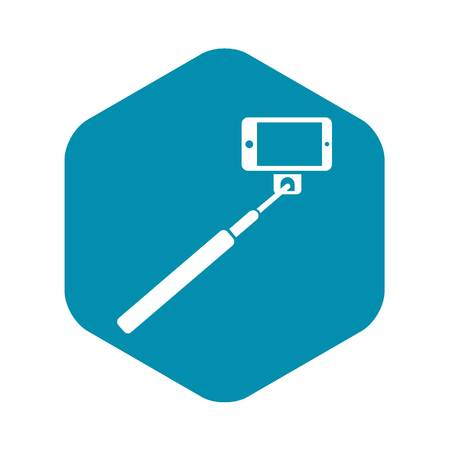 Selfie stick and smartphone icon in simple style isolated on white background. Device symbol