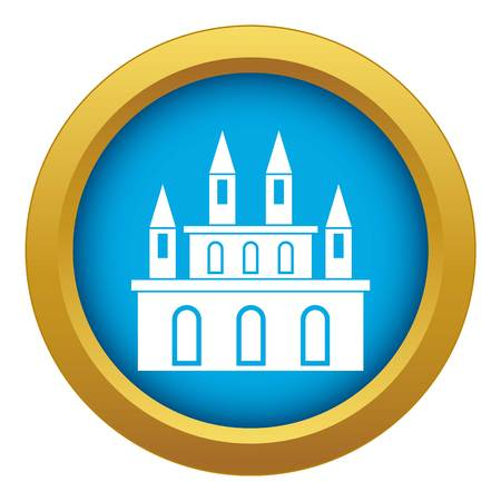 Medieval castle icon blue vector isolated