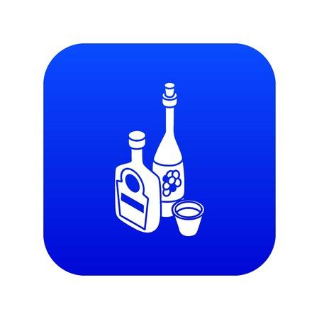 Wine, whiskey bottle icon blue vector isolated on white background