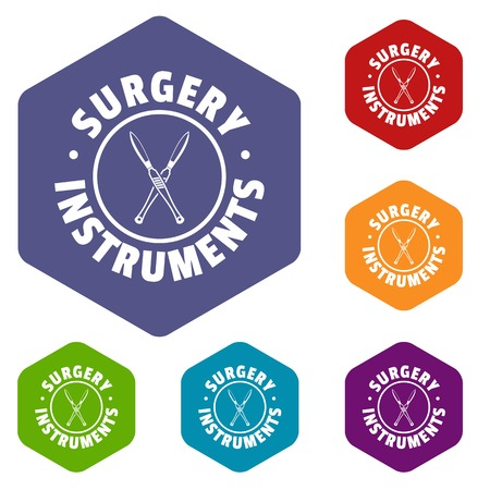 Surgery instrument icons vector hexahedron