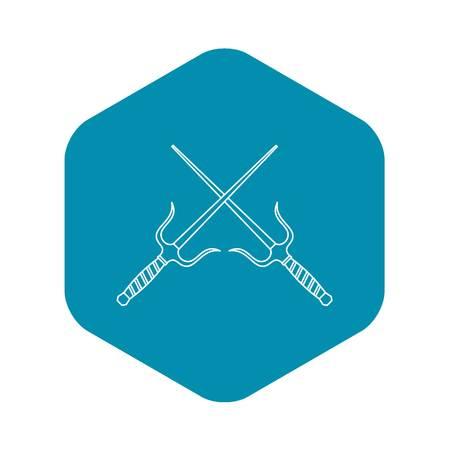 Sai dagger weapon icon. Outline illustration of sai dagger weapon vector icon for web  イラスト・ベクター素材