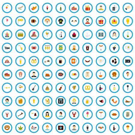 100 party icons set in flat style for any design vector illustration