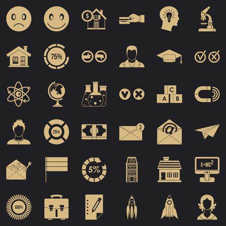 Elearning icons set, simple style