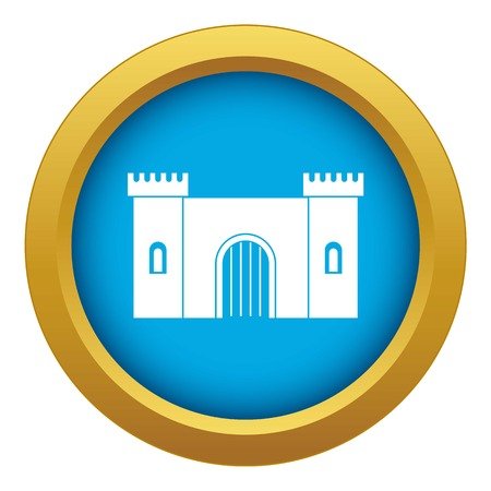Fortress with gate icon blue vector isolated