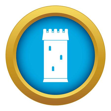 Fortress tower icon blue vector isolated
