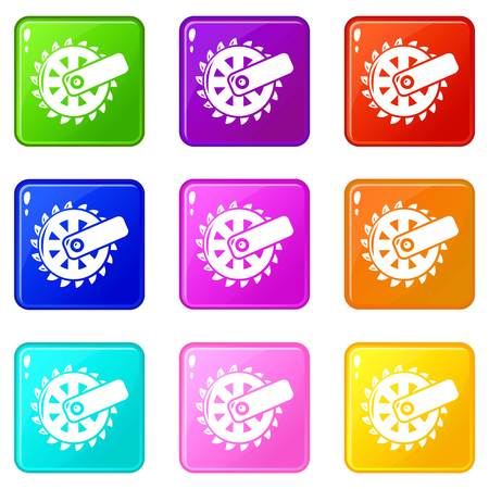 Mining cutting wheel icons set 9 color collection