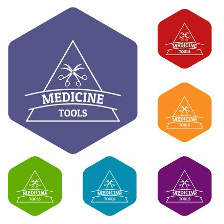 Equipment emblem icons vector hexahedron