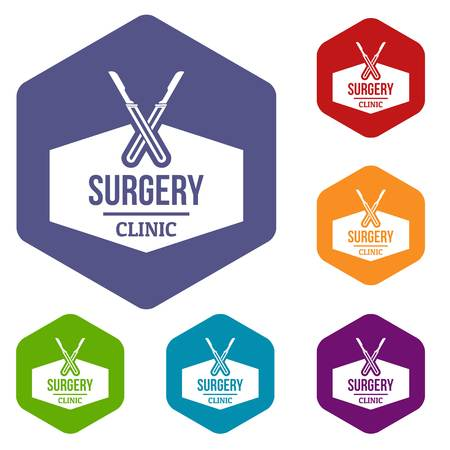 Clinic instrument icons vector hexahedron Illustration