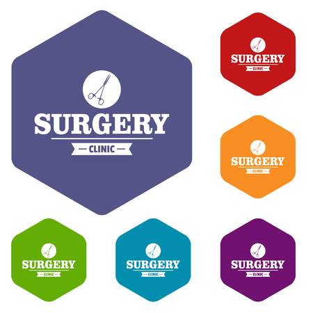 Surgery clinic icons vector hexahedron