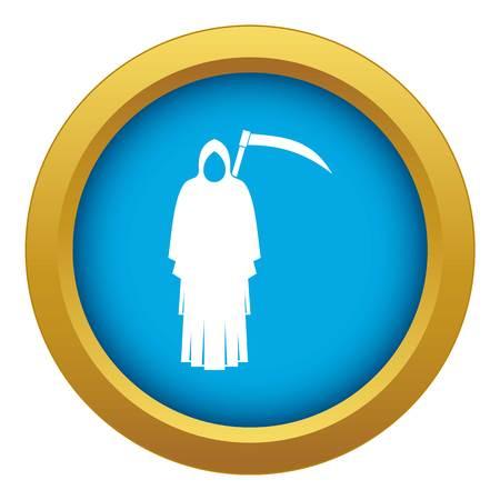 Death with scythe icon blue vector isolated Illustration